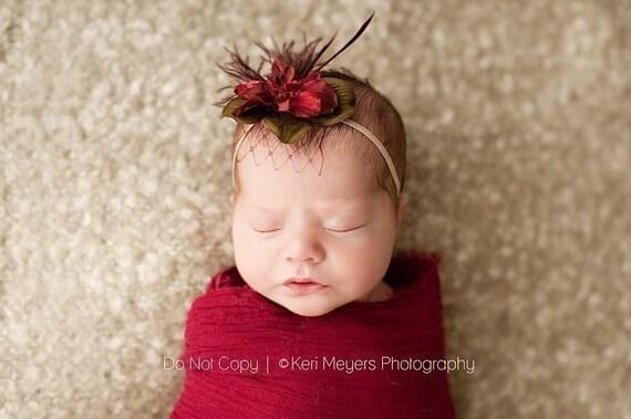 Deluxe Burgundy Flower Headband  Last One. Newborn size