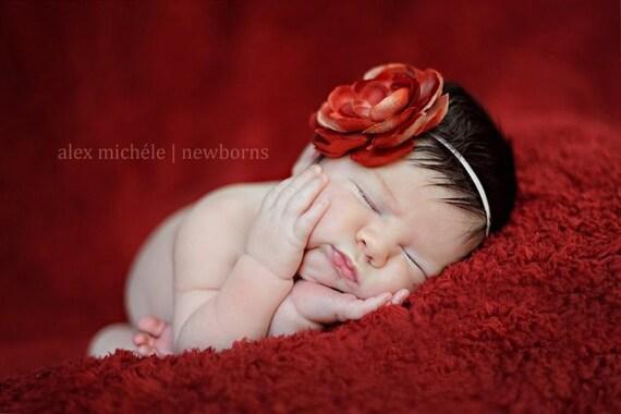 Vintage Red Flower Headband. last one