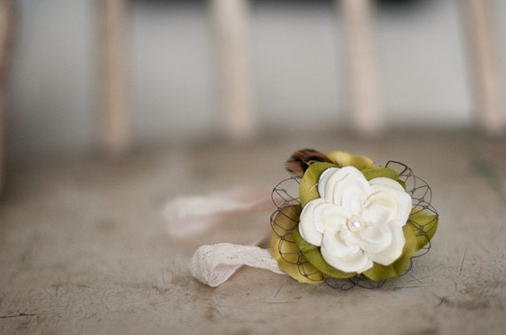 Vintage inspired green and ivory flower headband.  Last One, newborn size