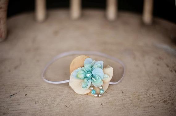 Aqua Pearl Flower Headband