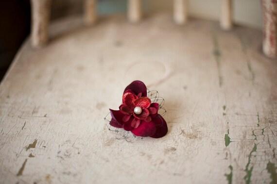 Dark Red Veiling Flower Headband.  Last One
