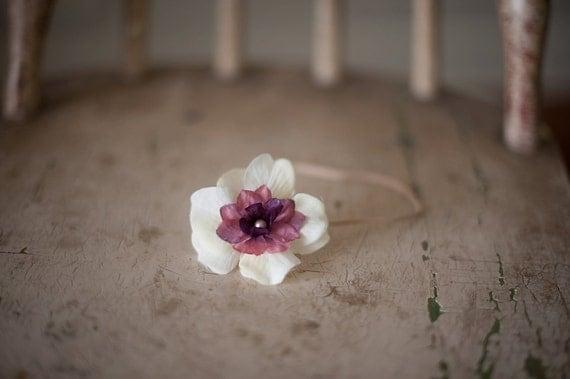 White and Rose Flower Headband