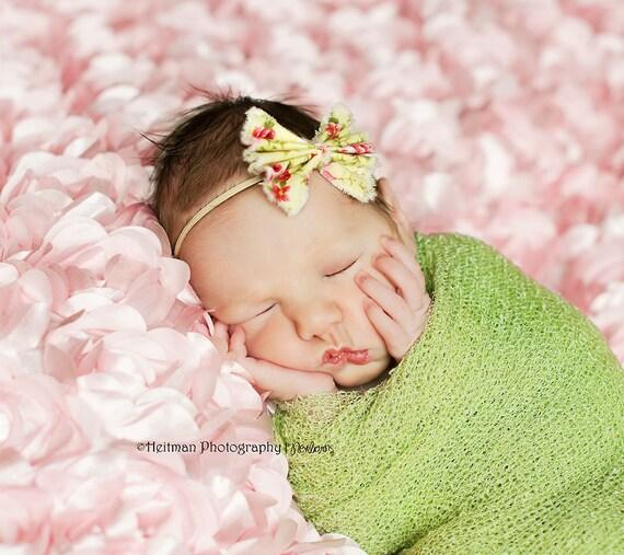 Light green and pink fabric bow headband