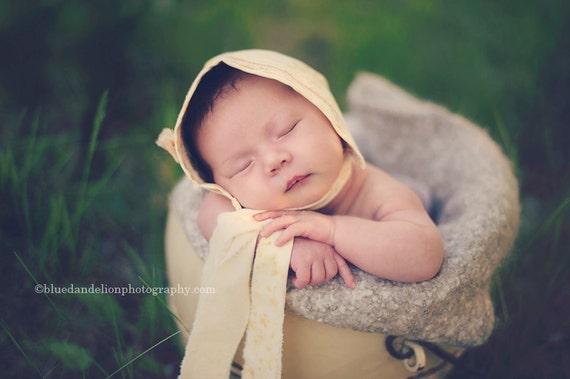 Lemon Custard Newborn Baby Bonnet