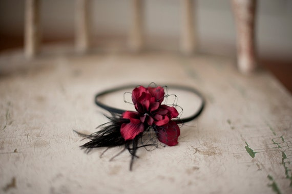 Berry Red and Black Flower Headband