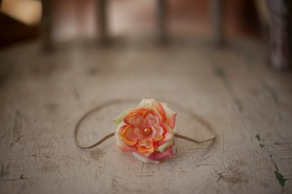 Summer sunrise Flower headband.  Last One, newborn size