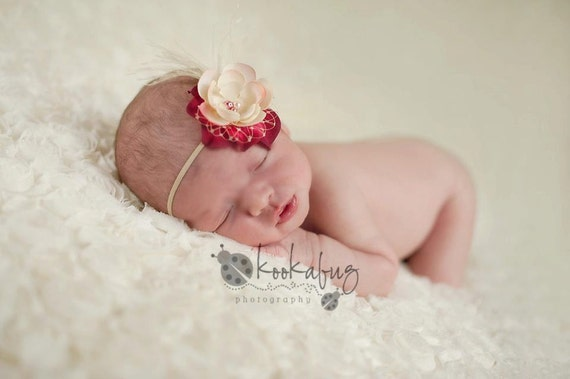 Deluxe Bright Pink and Cream Flower Headband