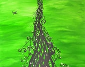 Jack and the Beanstalk Original Large Abstract Fine Art Landscape Fantasy Fairy Tale Green Silhouette Surreal 24x36 By E Pfleeger