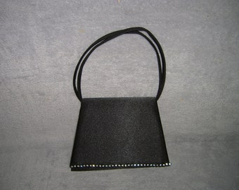 Vintage small black evening bag or purse with rhinestones