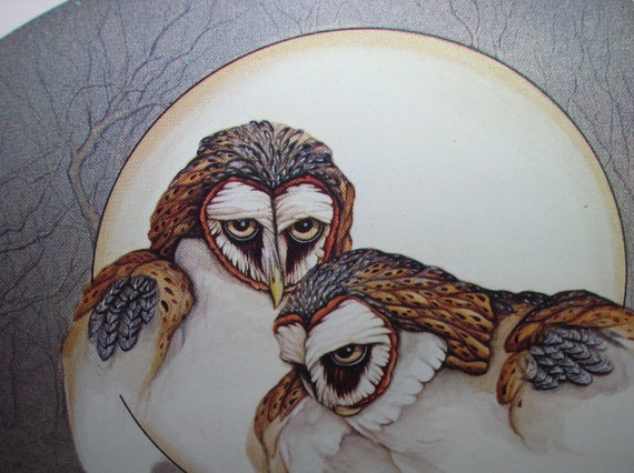 Limited edition barn owls print, matted and framed