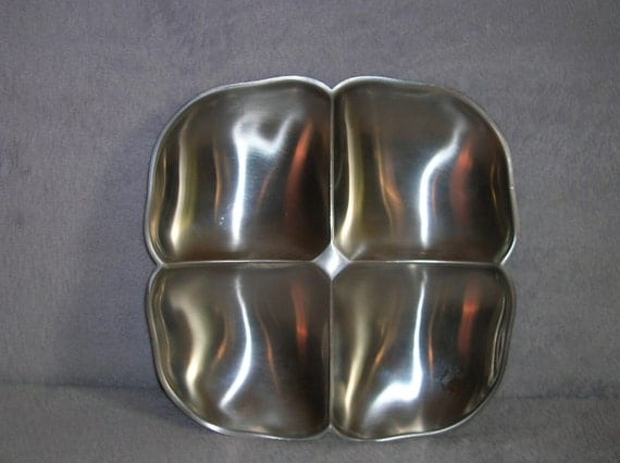 Mid Century stainless steel divided bowl server