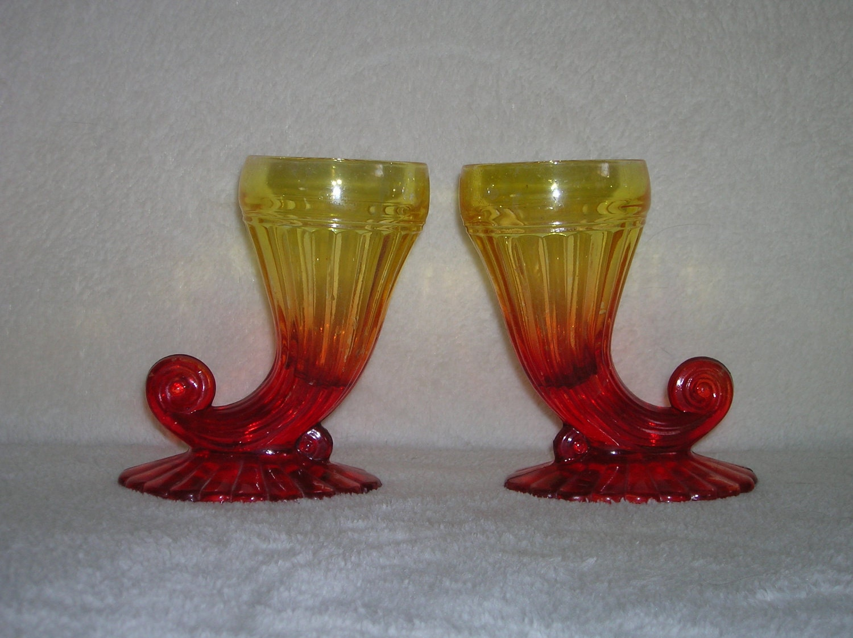 Pair Of Antique Glass Small Cornucopia Vases