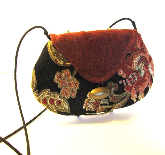 Small Fabric Purse or Clutch- From Discontinued Decorator Fabric Sample  Book  w/ Removeable Shoulder Strap