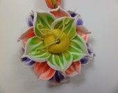 Spring Bloom Flower Pendant: Polymer Clay