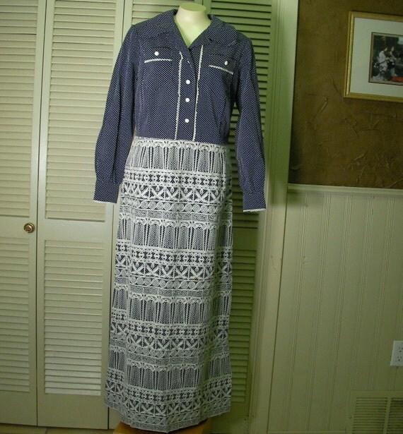 Vintage long sleeve navy blue maxi- dress, with greek columns, ric rac and polka dots 1970s,