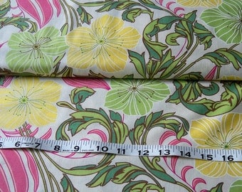 SALE -Nouveau Medley  Lime Green  by Sentimental Studios- Hibiscus-Yellow-Green-Pinks