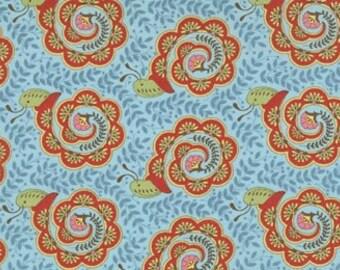 OOP-Tula Pink --Teal - Snails - Flutterby -Moda -one Yard