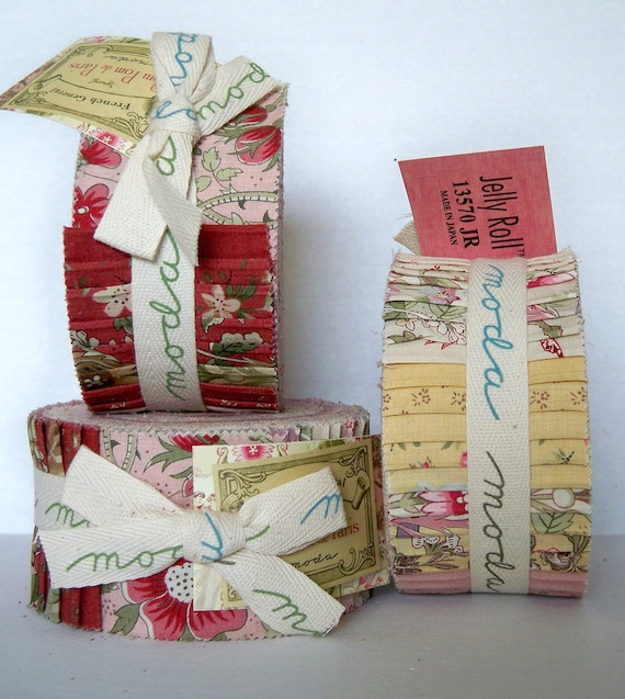 Pom Pom de Paris- Jelly Roll by French General -Moda Fabrics-Roses,butter-pink -cream