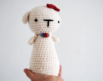 White Dog girl, hand-crocheted toy, amigurumi, ready to ship