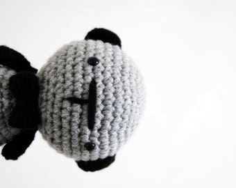 Grey Dog, hand-crocheted toy, amigurumi, ready to ship