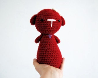 Red Doggy girl, hand-crocheted toy, amigurumi, ready to ship