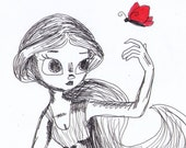 "Ink drawing of girl with red butterfly 8x10 sketch print ""Butterfly Friend"" - Cadouxdle"