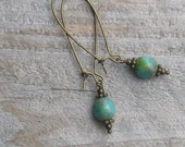 Turquoise Czech Glass and Antiqued Brass Earrings