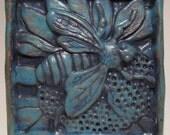 Ceramic Art Tile, HONEY BEE - Turquoise, Wall Art, 4 x 4 Handmade Tile