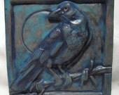 Bird On A Wire Ceramic Art Tile - Deep Turquoise