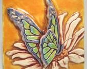 Butterfly Ceramic Art Tile - Egg Yolk