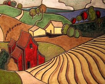 LANCASTER FARM Mosaic Art Tile, Hand Made Ceramic Wall Art , Custom Backsplash, Folk Art, Harvest colors,