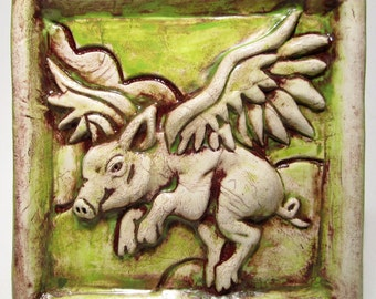 Ceramic Tile  When Pigs Fly Art Tile  chartreuse