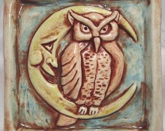 Night Owl Ceramic Art Tile - White Multi, 4 x 4 Handmade Ceramic Tile, Wall Art