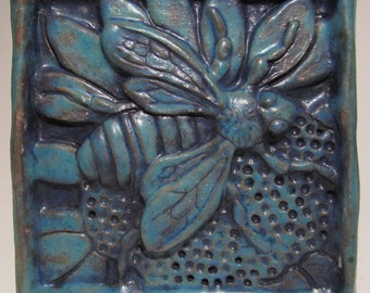 Ceramic Art Tile, HONEY BEE - Turquoise, Wall Art, 4 x 4 Handmade Tile