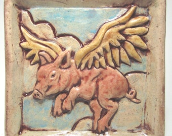 When Pigs Fly Ceramic Art Tile - Multi