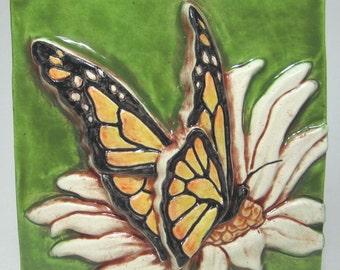 Butterfly Ceramic Art Tile - Fern Green