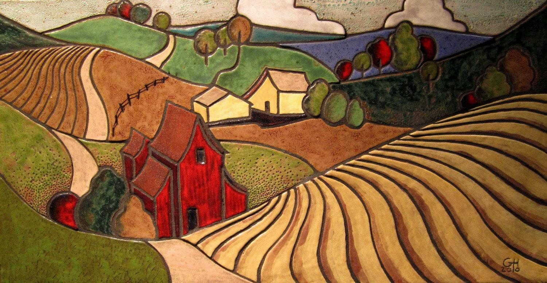 Lancaster farm ceramic mosaic art tile wall hanging for Ceramic mural paintings