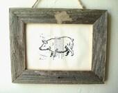 Framed Pig Print on Vintage Book Page