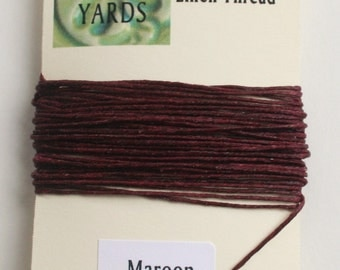 5 yrds Maroon 4 ply Irish Waxed Linen Thread