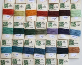 You Pick 3 Colors - 30 Yards Total of 4 ply Irish Waxed Linen Thread