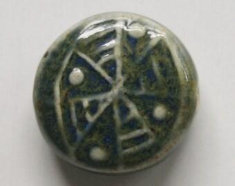Handmade Artisan Ceramic Porcelain Lentil Bead Pendant in Hunter Green 11912