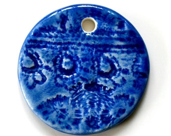 Handmade Artisan Ceramic Pendant in Royal Blue ROYBLUP3
