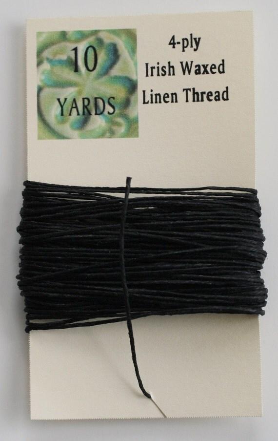 10 Yards of Black 4 ply Irish Waxed Linen Thread