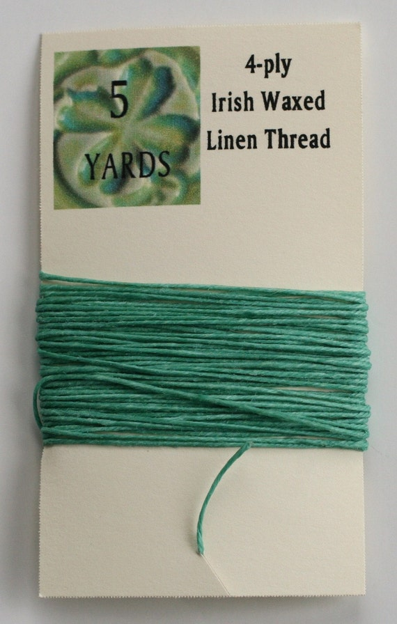 5 Yards Sage 4 ply Irish Waxed Linen Thread