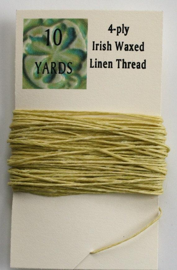 10 Yards Yellow 4 ply Irish Waxed Linen Thread