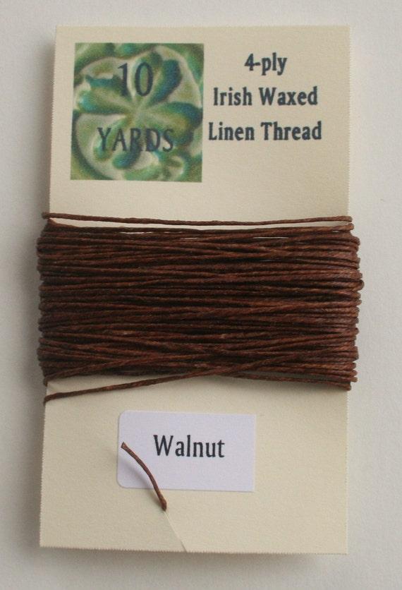 10 yrds Walnut 4 ply Irish Waxed Linen Thread