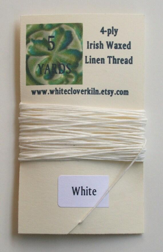 5 Yards 4 Ply White Irish Waxed Linen Thread