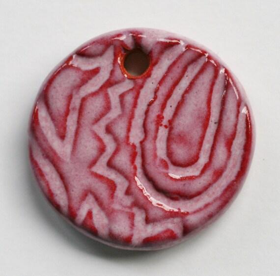 Handmade Artisan Ceramic Pendant in Pink Cardinal on Russet PINCARDP31011