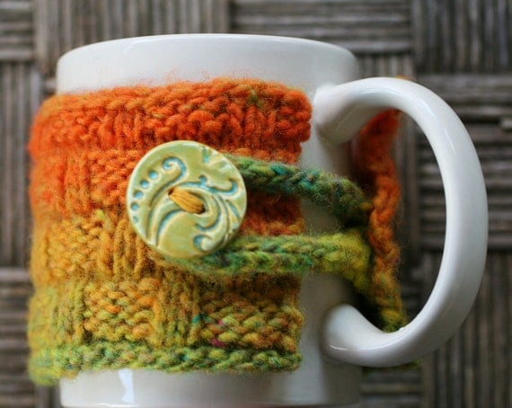 Stoneware Mug with A One Of A Kind Handknit Mug Coffee Cup Cozy in Yellow,Orange,Green with a Beautiful Handmade Ceramic Button Closure