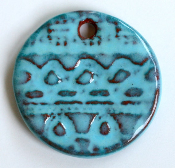 Handmade Artisan Ceramic Original Design Earthenware Pendant in Aqua on Russet AQUARP2